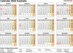Download Template 9: Calendar 2022 Australia in PDF format, landscape, 1 page, year at a glance