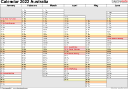 Download Template 4: Calendar 2022 Australia in PDF format, landscape, 2 pages, days aligned, half a year per page