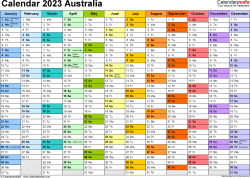 Template 1: 2023 Calendar Australia for Word, 1 page, months horizontally, each month in a different colour, landscape orientation