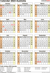 Download Template 26: Calendar 2023 Australia in PDF format, portrait, 1 page, year at a glance