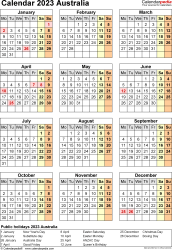 Template 18: Calendar 2023 Australia for Microsoft Excel (.xlsx file), portrait, 1 page, year at a glance