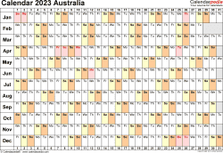 Template 6: 2023 Calendar Australia for Word, linear (days horizontally), 1 page, landscape orientation