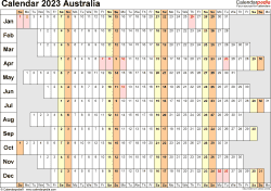 Download Template 20: Calendar 2023 Australia in PDF format, landscape, 1 page, linear, days aligned