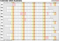 Template 7: 2023 Calendar Australia for Word, linear (days horizontally), 1 page, landscape orientation, days aligned