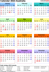 Download Template 25: Calendar 2023 Australia in PDF format, portrait, 1 page, year at a glance, multi-coloured