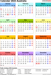 Template 16: 2023 Calendar Australia for Excel, year at a glance, 1 page, in colour, portrait orientation