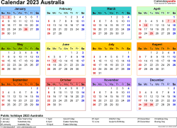 Download Template 21: Calendar 2023 Australia in PDF format, landscape, 1 page, year at a glance, multi-coloured