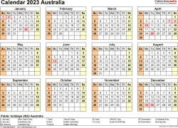 Download Template 22: Calendar 2023 Australia in PDF format, landscape, 1 page, year at a glance