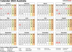Template 9: Calendar 2023 Australia for Microsoft Excel (.xlsx file), landscape, 1 page, year at a glance