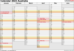 Template 4: Calendar 2023 Australia for Microsoft Excel (.xlsx file), landscape, 2 pages, days aligned, half a year per page