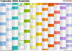 Template 1: Calendar 2024 Australia in PDF format, landscape, 1 page, multi-coloured