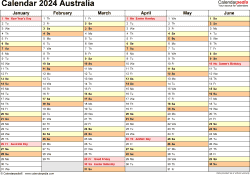 Download Template 3: Calendar 2024 Australia in PDF format, landscape, 2 pages, half a year per page