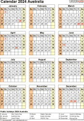 Download Template 26: Calendar 2024 Australia for Microsoft Excel (.xlsx file), portrait, 1 page, year at a glance