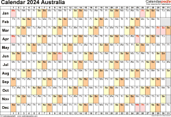 Download Template 6: Calendar 2024 Australia in PDF format, landscape, 1 page, linear