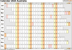 Download Template 20: Calendar 2024 Australia for Microsoft Excel (.xlsx file), landscape, 1 page, linear, days aligned