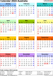 Download Template 25: Calendar 2024 Australia for Microsoft Excel (.xlsx file), portrait, 1 page, year at a glance, multi-coloured