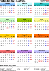 Template 17: Calendar 2024 Australia in PDF format, portrait, 1 page, year at a glance, multi-coloured
