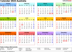 Download Template 21: Calendar 2024 Australia for Microsoft Excel (.xlsx file), landscape, 1 page, year at a glance, multi-coloured