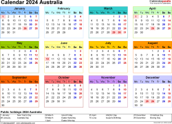 Template 8: Calendar 2024 Australia in PDF format, landscape, 1 page, year at a glance, multi-coloured