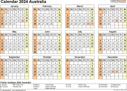 Download Template 22: Calendar 2024 Australia for Microsoft Excel (.xlsx file), landscape, 1 page, year at a glance