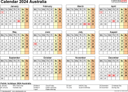 Template 9: Calendar 2024 Australia in PDF format, landscape, 1 page, year at a glance