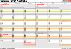 Template 4: Calendar 2024 Australia in PDF format, landscape, 2 pages, days aligned, half a year per page