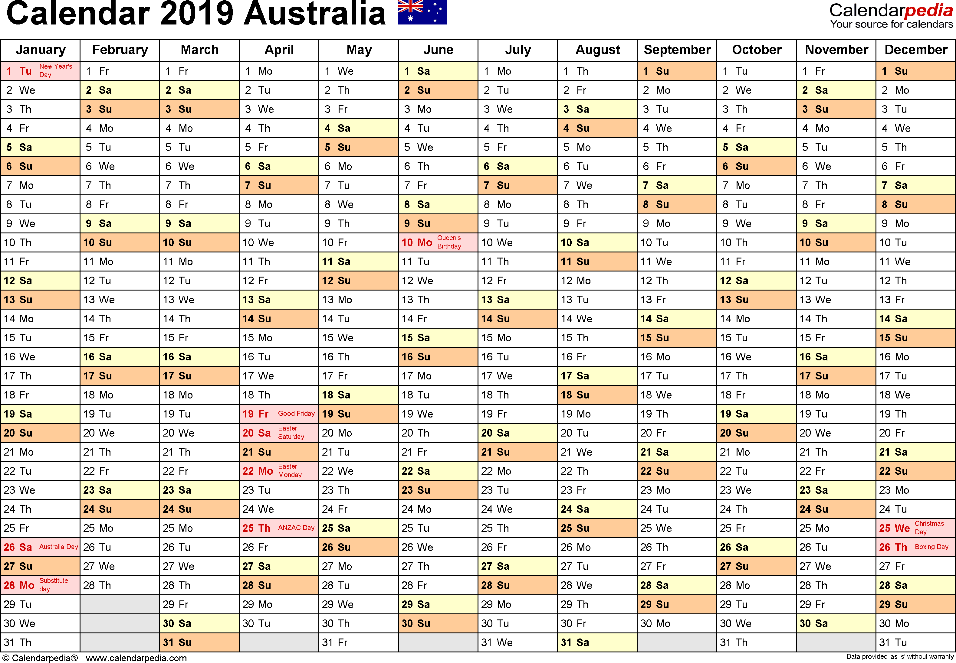 Template 2: 2019 Calendar Australia for Word, months horizontally, 1 page, landscape orientation