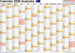 Template 2: 2020 Calendar Australia for Word, months horizontally, 1 page, landscape orientation
