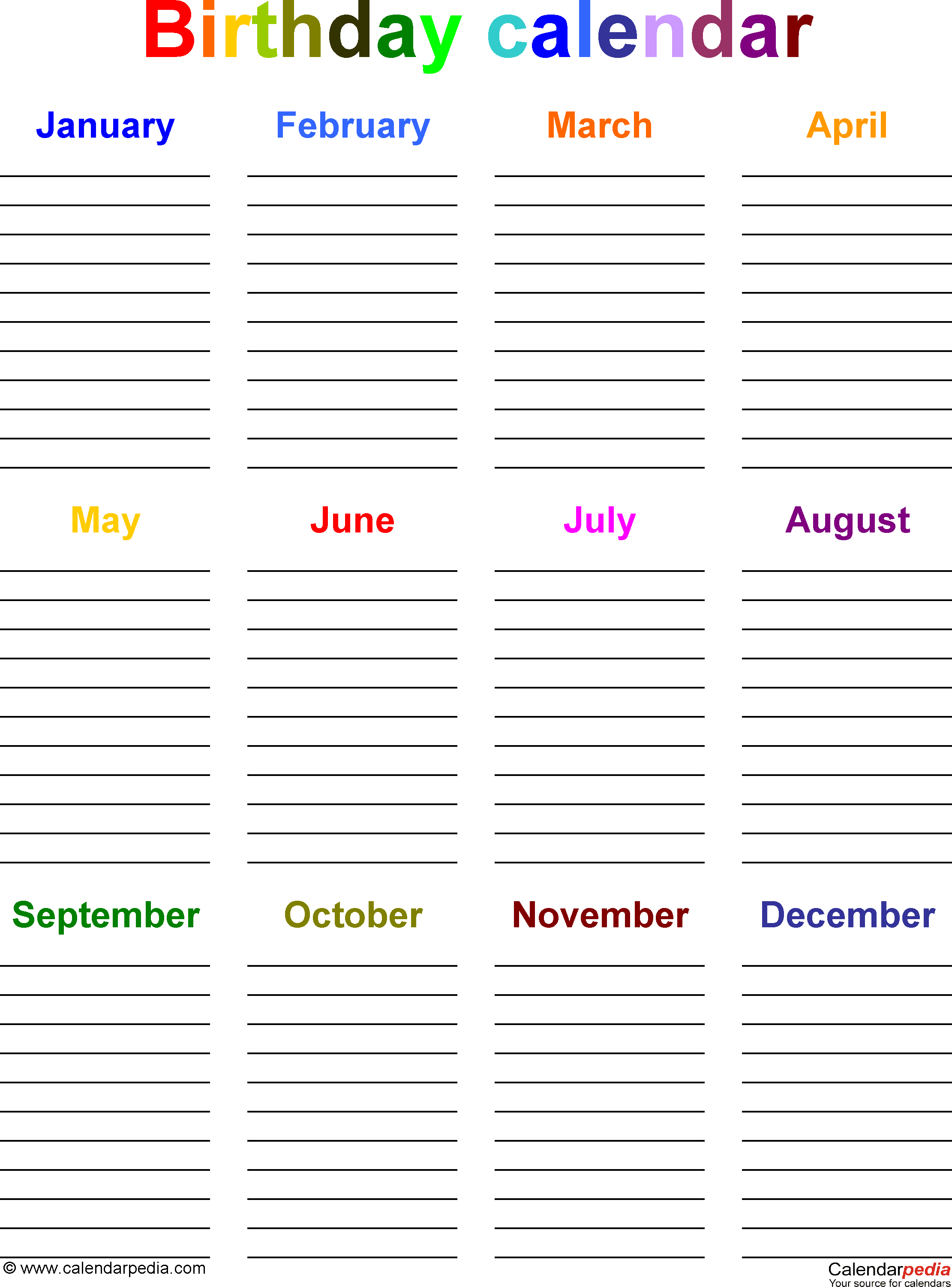 Template 5: Excel template for birthday calendar in color (portrait ...