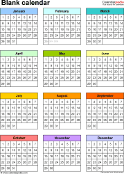 Download Template 10: PDF template for blank calendar (portrait orientation, 1 page)
