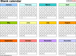 Template 5: Word Template For Blank Calendar (landscape Orientation, 1 Page)