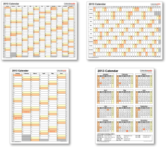 Calendar templates 2013 for Word, Excel and PDF