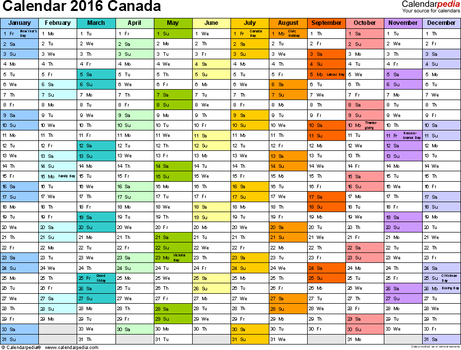 Template 1: 2016 Calendar Canada for PDF, 1 page, months horizontally, each month in a different colour, landscape orientation