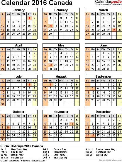 Template 15: 2016 Calendar Canada for PDF, year at a glance, 1 page, portrait orientation