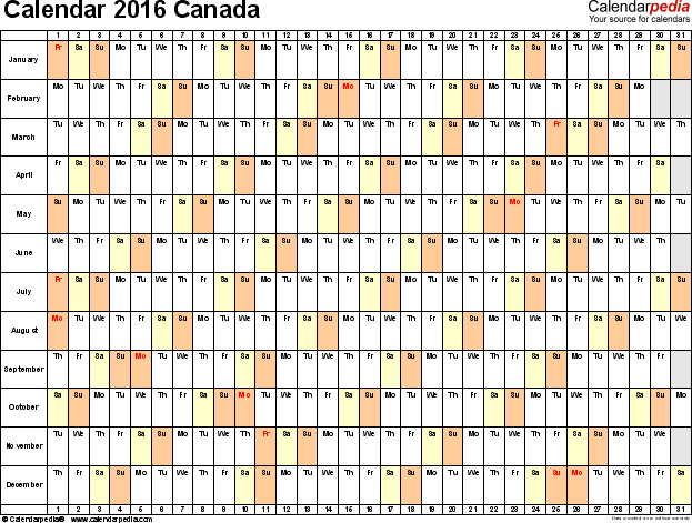 Template 3: 2016 Calendar Canada for PDF, linear (days horizontally), 1 page, landscape orientation