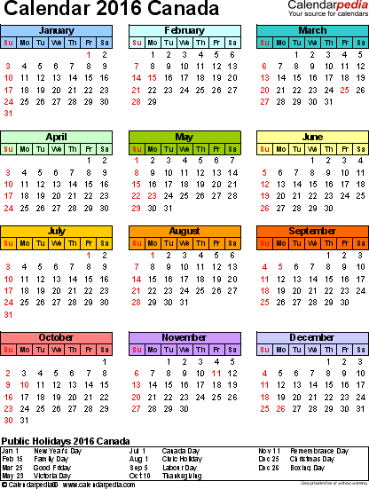 Template 14: 2016 Calendar Canada for PDF, year at a glance, 1 page, in colour, portrait orientation