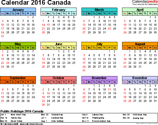 Download Template 7: Calendar 2016 Canada for Microsoft Excel (.xlsx file), landscape, 1 page, year at a glance, multi-coloured