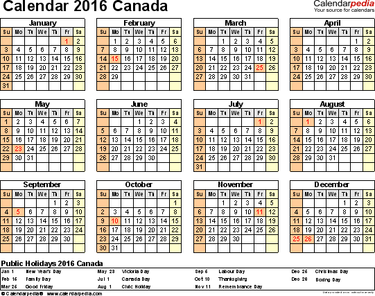 Template 8: 2016 Calendar Canada for Excel, year at a glance, 1 page, landscape orientation