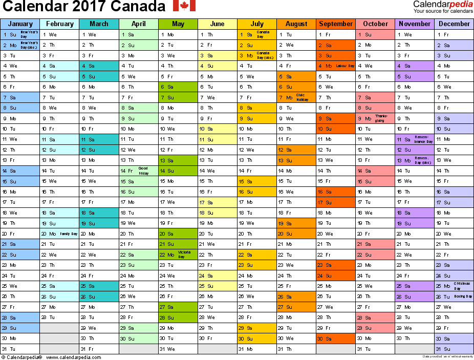Template 1: 2017 Calendar Canada for PDF, 1 page, months horizontally, each month in a different colour, landscape orientation