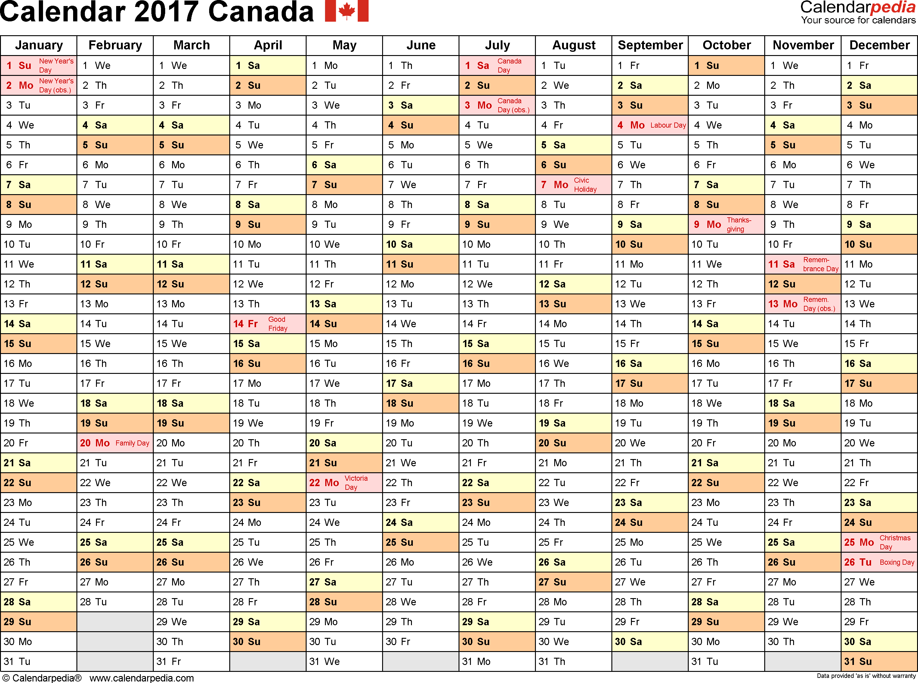 Template 2: 2017 Calendar Canada for Word, months horizontally, 1 page, landscape orientation