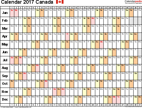 Template 6: 2017 Calendar Canada for PDF, linear (days horizontally), 1 page, landscape orientation