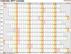 Template 7: 2017 Calendar Canada for PDF, linear (days horizontally and aligned, by weekday), 1 page, landscape orientation