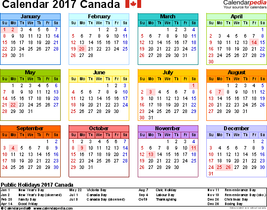 Template 8: 2017 Calendar Canada for PDF, year at a glance, 1 page, in colour, landscape orientation