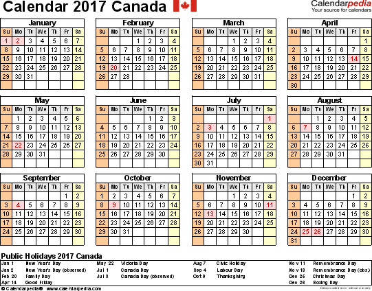 Template 9: 2017 Calendar Canada for Excel, year at a glance, 1 page ...
