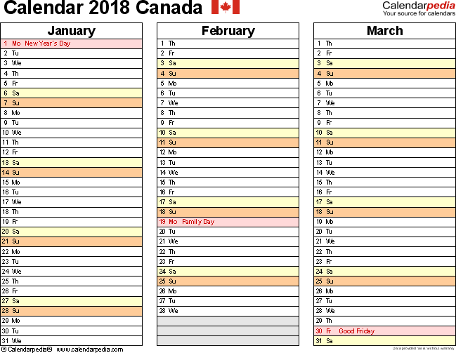 Template 5: 2018 Calendar Canada for Word, months horizontally, 4 pages, landscape orientation