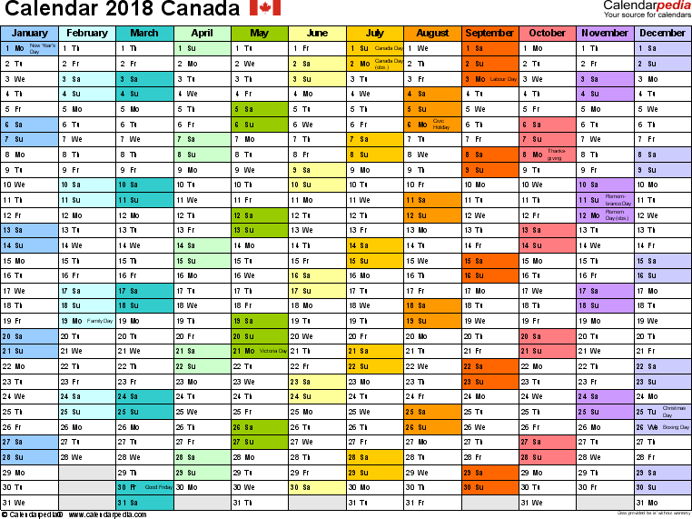 Template 1: 2018 Calendar Canada for PDF, 1 page, months horizontally, each month in a different colour, landscape orientation
