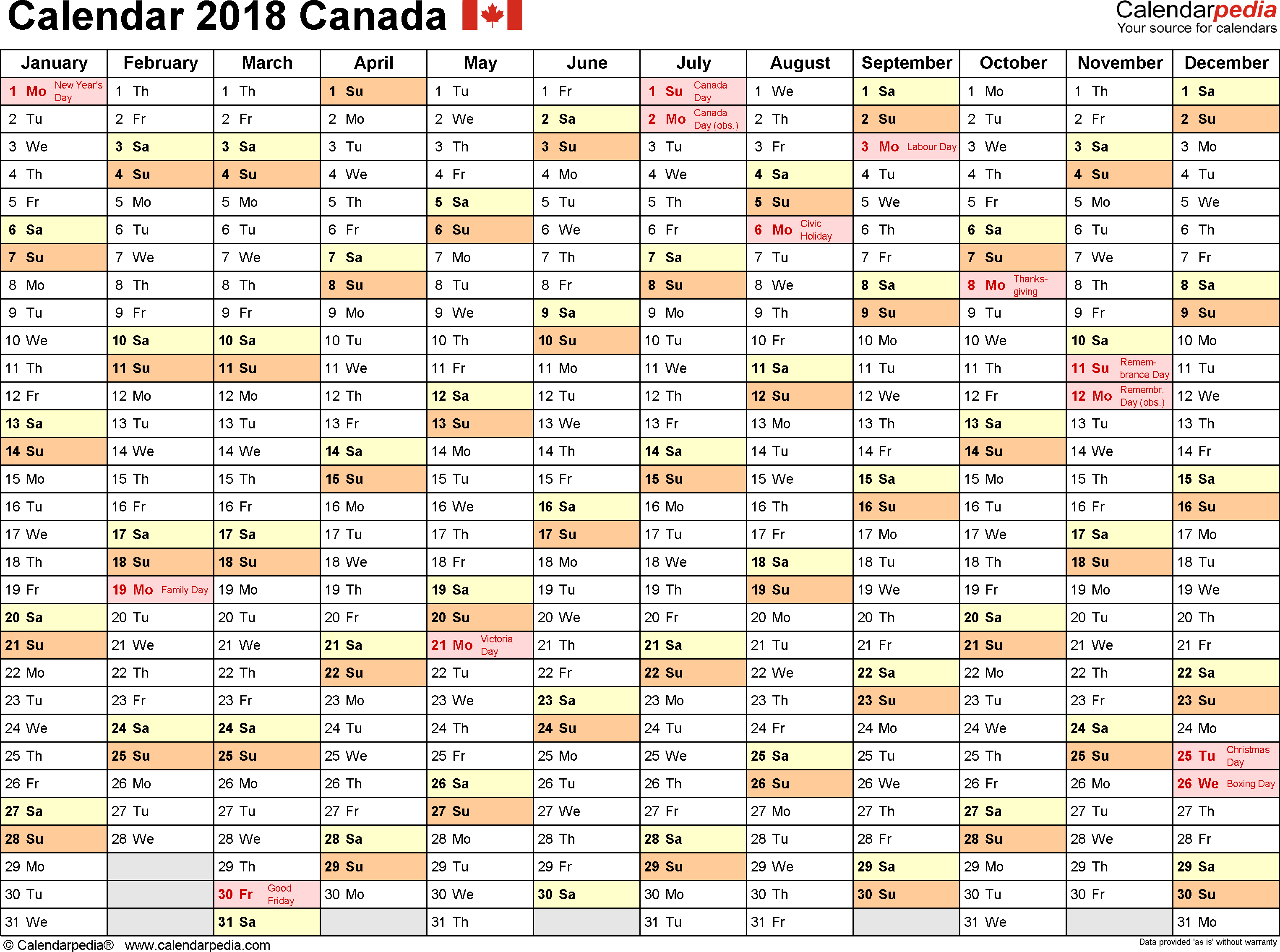 Template 2: 2018 Calendar Canada for PDF, months horizontally, 1 page, landscape orientation