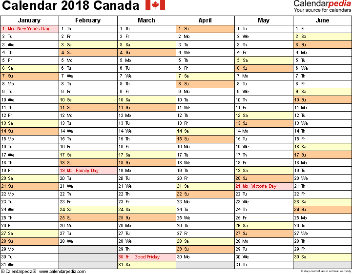 Template 3: 2018 Calendar Canada for Word, months horizontally, 2 pages, landscape orientation