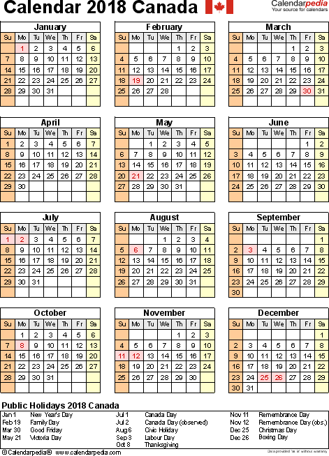 Template 11: 2018 Calendar Canada for Excel, year at a glance, 1 page, portrait orientation