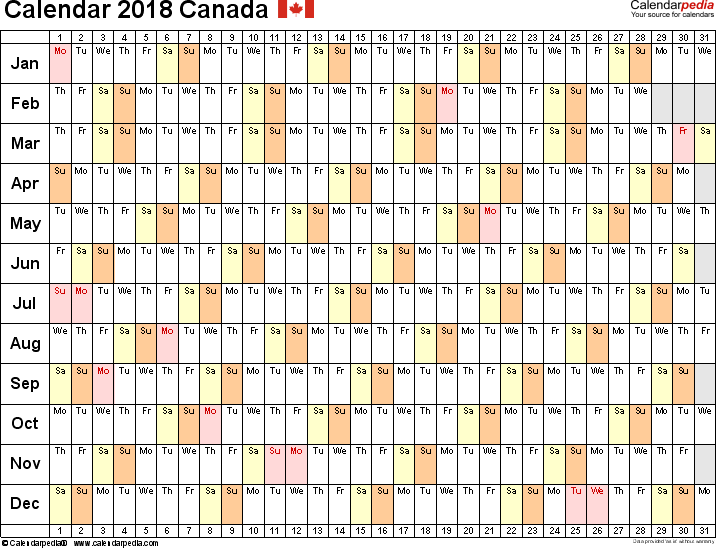 Template 6: 2018 Calendar Canada for Word, linear (days horizontally), 1 page, landscape orientation